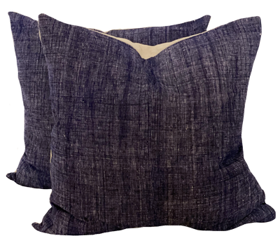 Vintage Handspun Navy Hemp Pillows (pair)