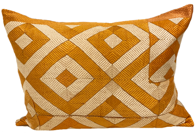 Embroidered Diamond Orange Pillow