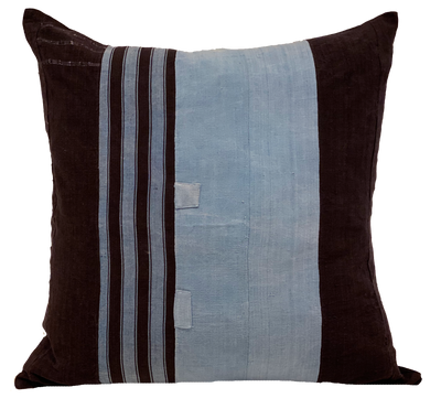 African Indigo and French Blue Stripe Pillow (pair)