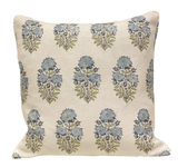 Mughal Flower Blue Pillow