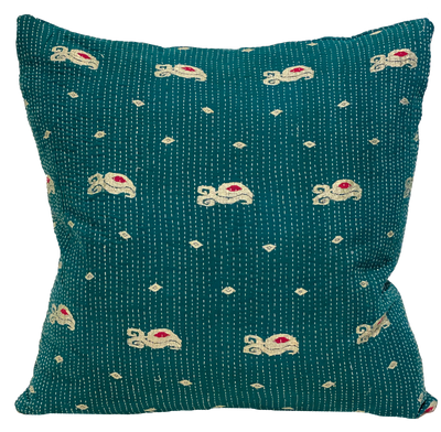 Vintage Embroidered Peacock Kantha Pillow I