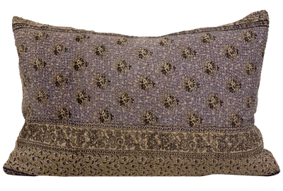 Vintage Lilac and Grey Kantha Pillow