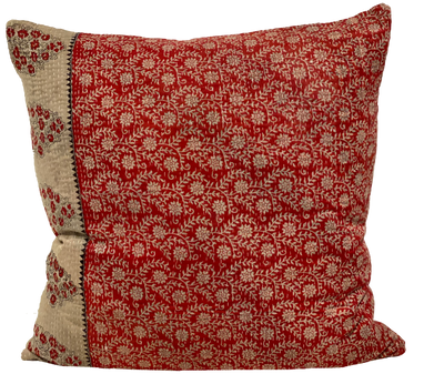 Vintage Red Paisley Kantha Pillows (pair)