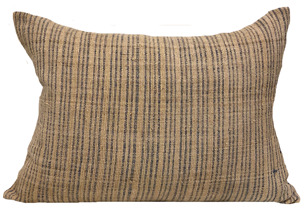 Hmong Faded Blue Ticking Stripe Pillow