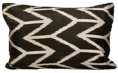 Aziz Black Silk Ikat Pillow