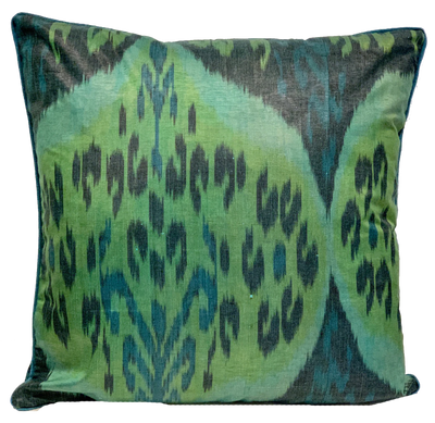 Nevin Silk Ikat Green Pillow
