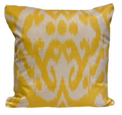 Sennur Yellow Silk Ikat Pillow