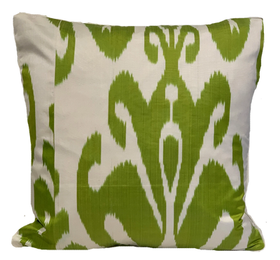 Bahar Green Silk Ikat Pillow