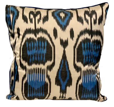 Marmaris Blue Silk Ikat Pillow