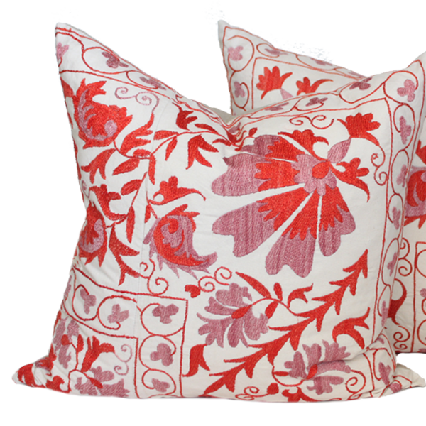 Embroidered Floral Berry Suzani Pillows (pair)