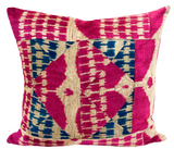 Patchwork Pink Velvet Ikat Pillow