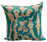 Patchwork Aqua Velvet Ikat Pillow