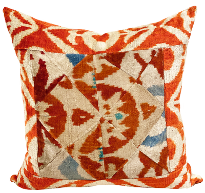 Patchwork Orange Velvet Ikat Pillow