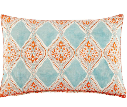 Pitaka Aqua and Coral Pillow