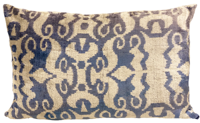 Siam Pool Blue Velvet Ikat Pillow