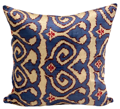 Saul Blue Velvet Ikat Pillow