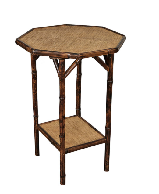 Custom Octagonal Tiger Bamboo Side Table