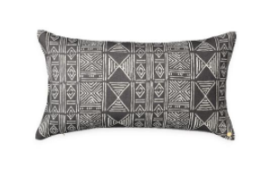 Charcoal Mud Cloth Printed Pillow