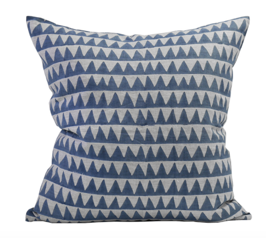 Pyramids Denim Blue Pillow