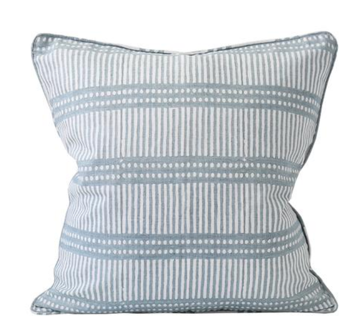 Dot Dash Inverse Dusk Blue Pillow