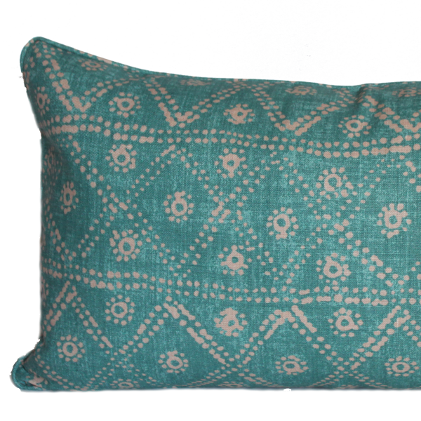 Diamond Zig Zag Turquoise Pillow
