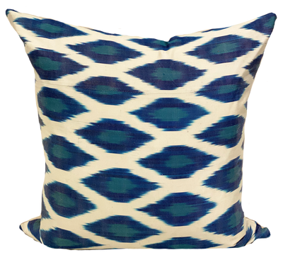 Suza Blue Silk Ikat Pillow