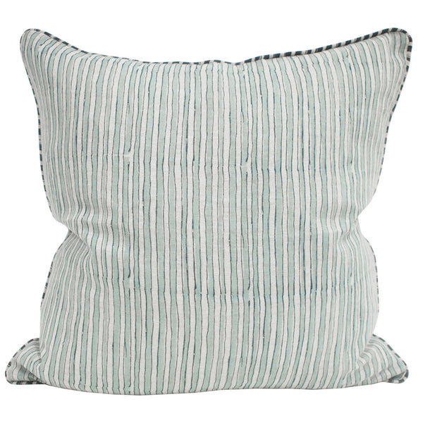 Ticking Stripe Linen Light Blue Pillow