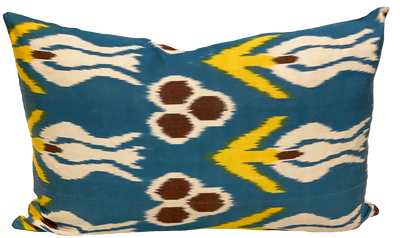 Tulip Blue Silk Ikat Pillow