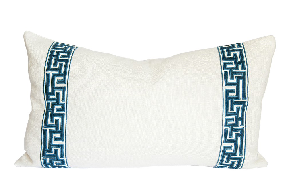 Embroidered Greek Fret Solid Lumbar