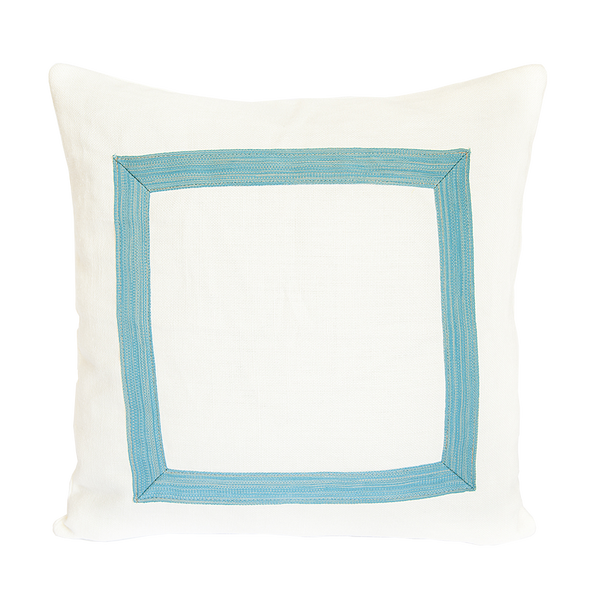 WMH Framed Solid Linen Pillow