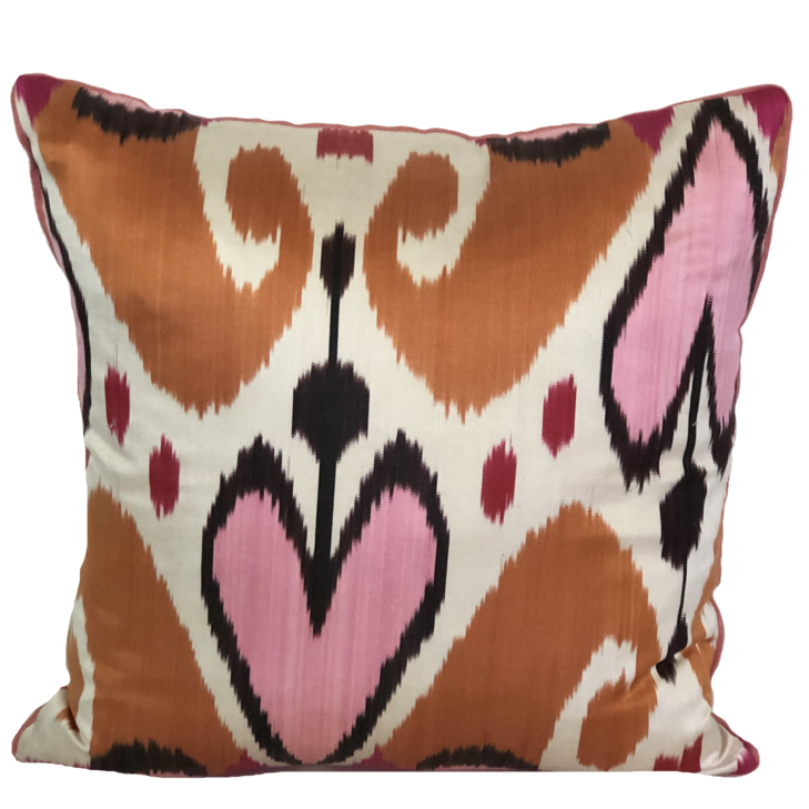 Baku Silk Ikat Blush Pillow