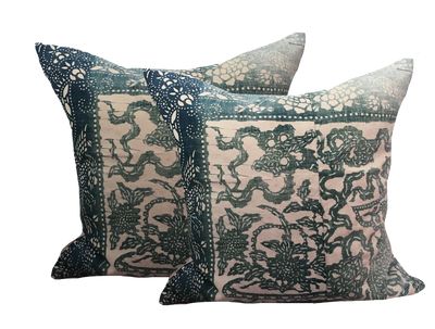 Vintage Chinese Indigo Batik Pillow (pair)