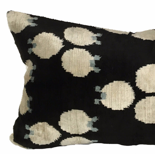 Black Dot Velvet Ikat