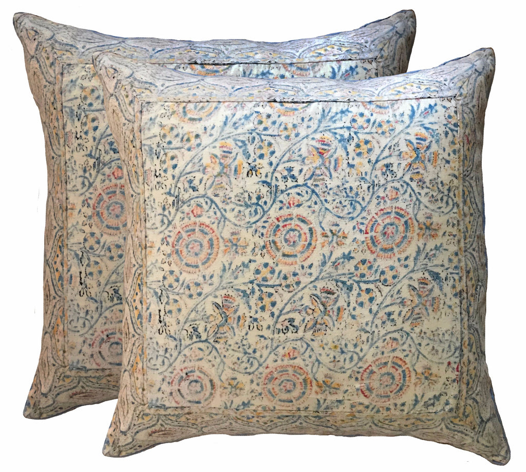 Vintage Blue Kalamkari Batik Pillows (pair)