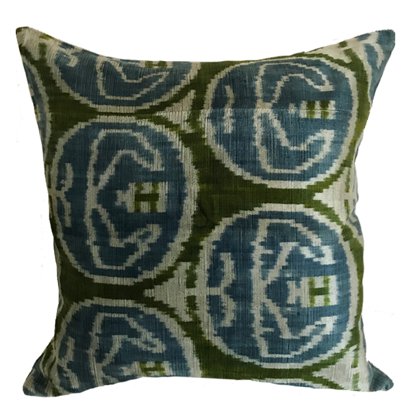 Ginger Velvet Ikat Blue Pillow
