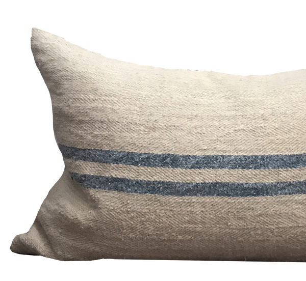 Vintage Grain Sack Blue Stripe Pillow