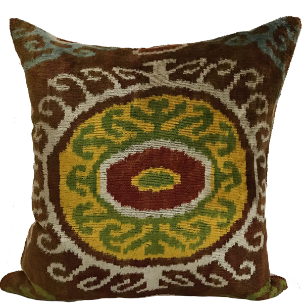 Akbez Velvet Ikat Pillow