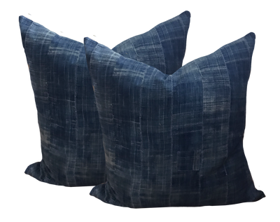 African Indigo Mudcloth Pillows (pair)