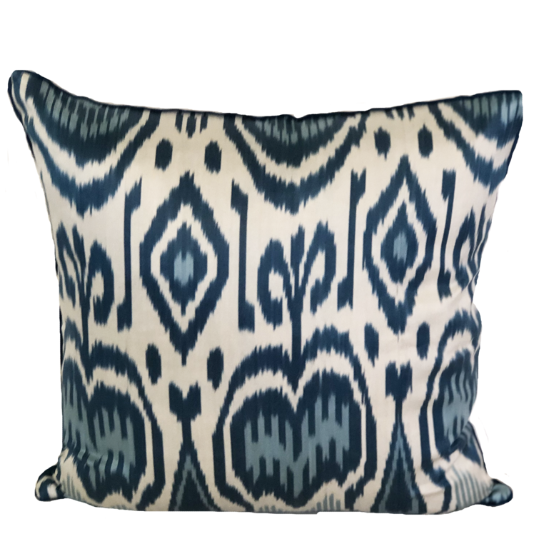 Deniz Silk Ikat Blue Pillow