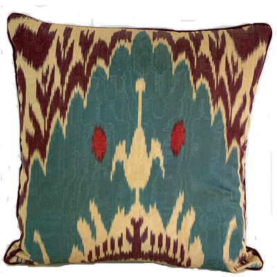 Dilek Silk Ikat Teal Pillow