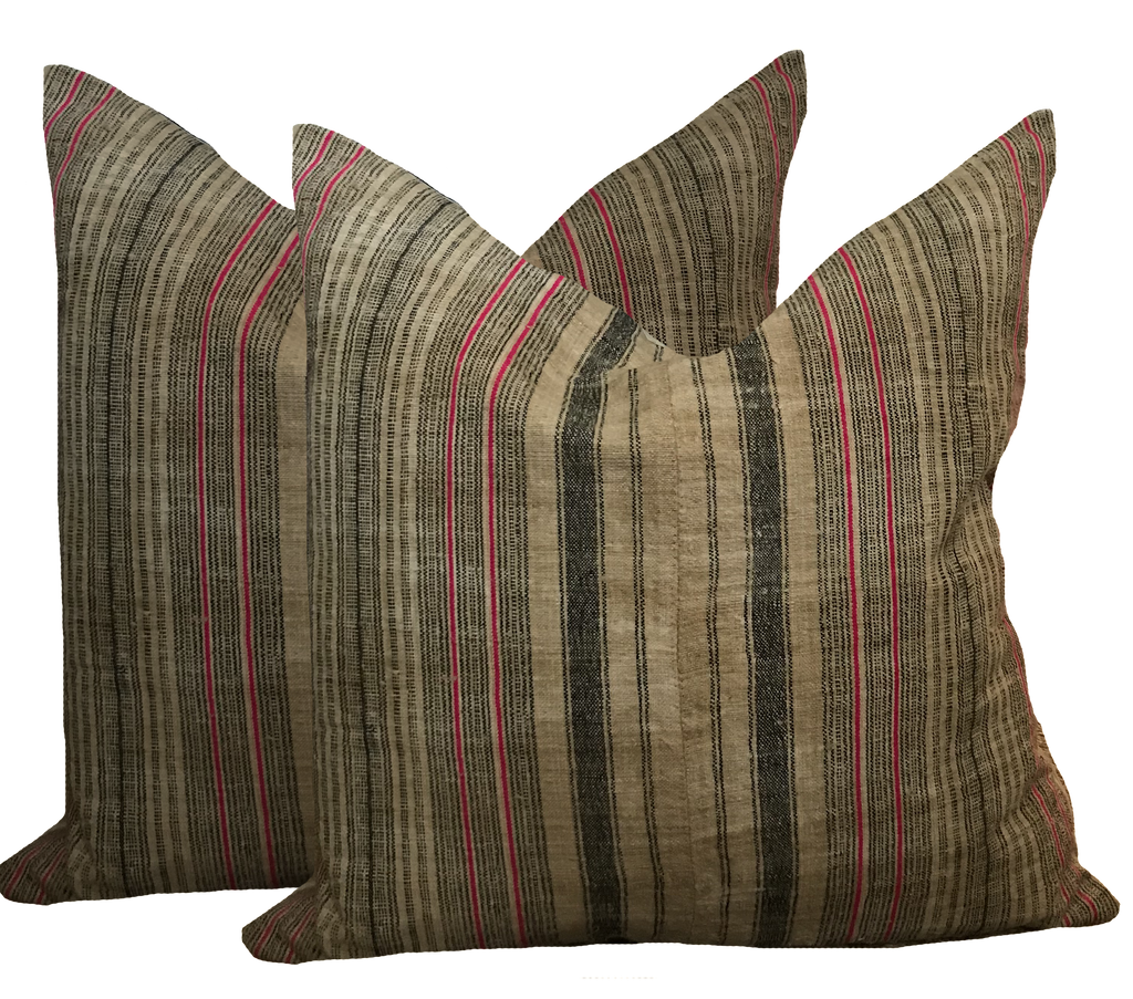 Found Hemp Stripe Pink Pillow