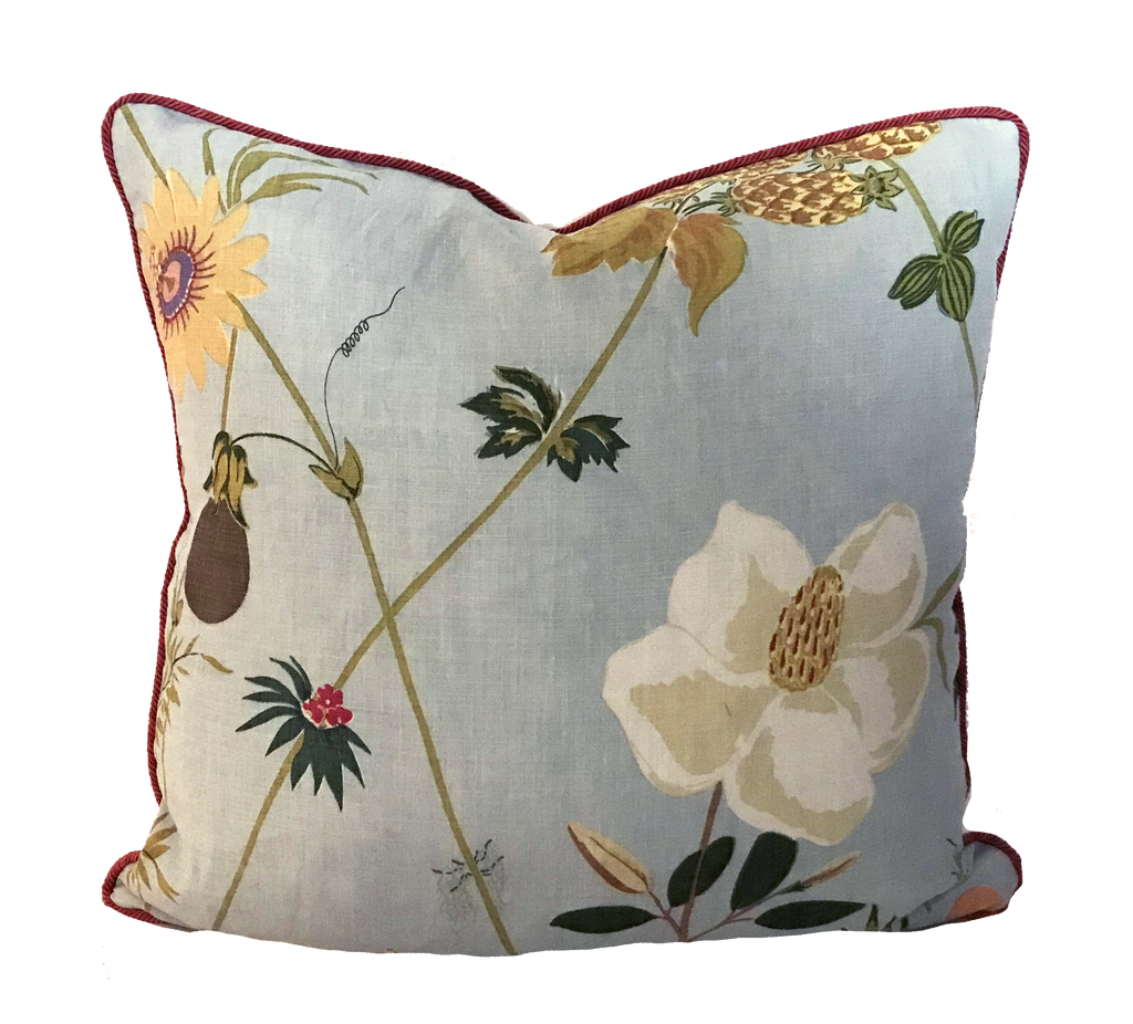 Secret Garden Blue Pillow