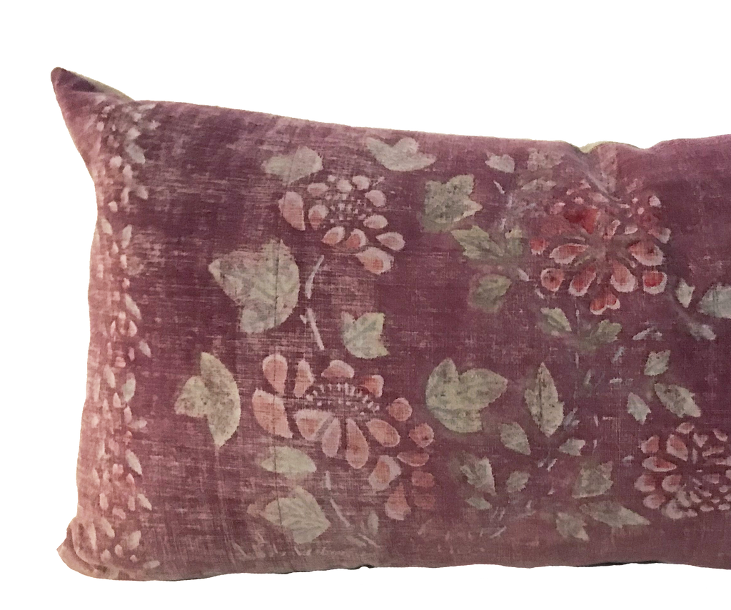 Rose Floral Batik Lumbar Pillow