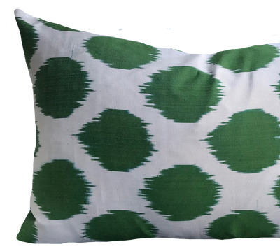 Dot Green Silk Ikat Pillow