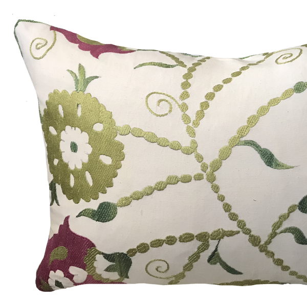 Suzani Green and Pink Pillow