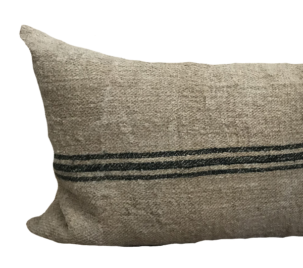 Vintage Grain Sack Green Stripe Pillow