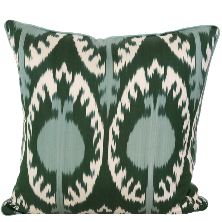 Hande Silk Ikat Green Pillow