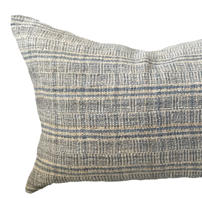 Found Stripe Hemp Blue Pillow