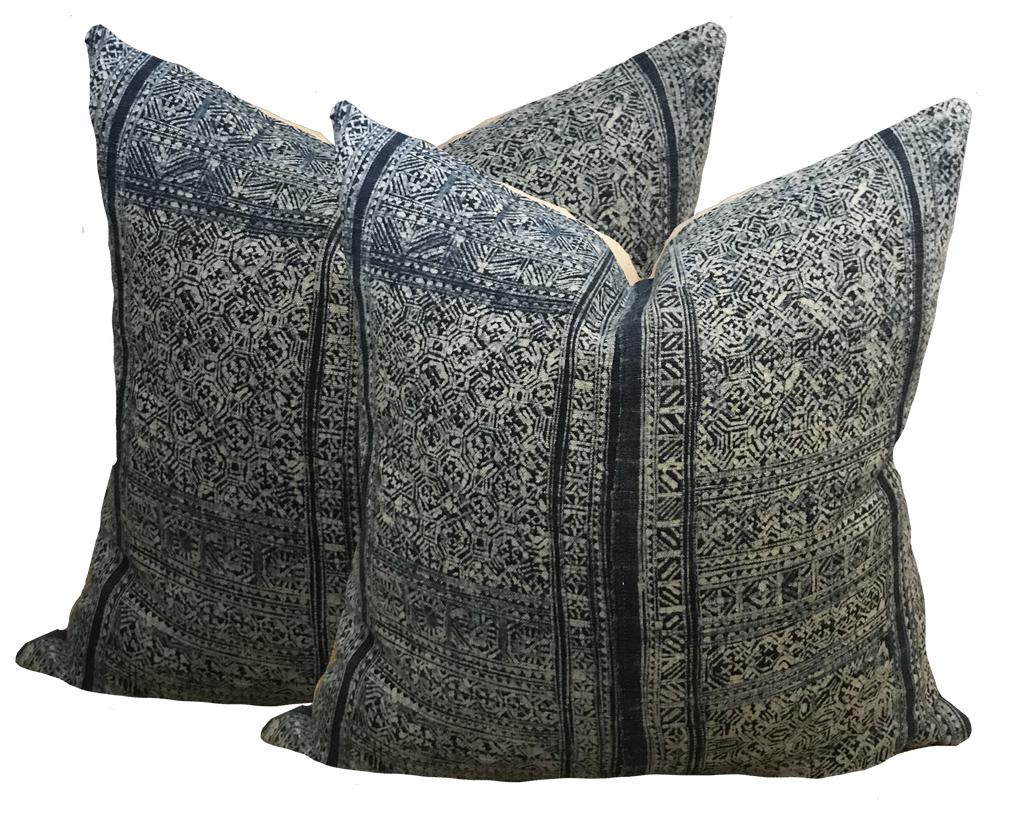 Vintage Chinese Batik Denim Pillows (pair)