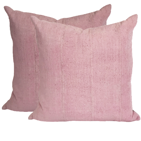 African Pink Mud Cloth Pillows (pair)